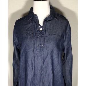 Blue denim lace up top size small long sleeve